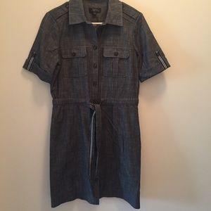 Tahari Size 4 Grey Blue Short Sleeve Dress